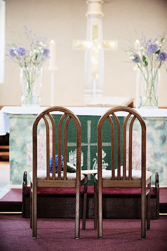 Die Stühle für die kirche Trauung
